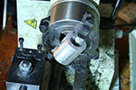 mounting the stock on the 4 jaw independent chuck on the mini-lathe
